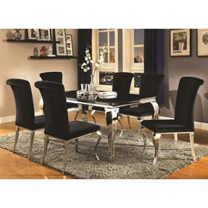 Contemporary Glam Dining Room Set with Upholstered Chairs