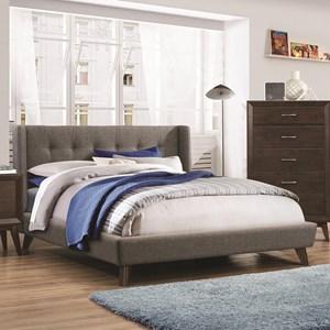 Full Upholstered Wing Bed