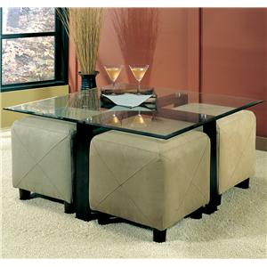 Contemporary Square Metal Cocktail Table with Glass Top