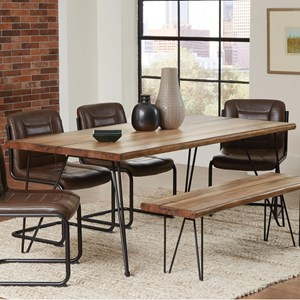 Dining Table with Hairpin Legs and Live Edge
