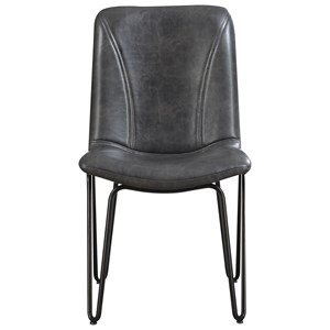 Dining Chair with Leatherette Seat and Hairpin Legs