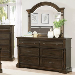 Traditional 6 Drawer Dresser and Arched Mirror Combo