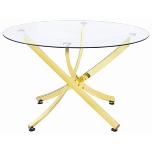 Glam Round Dining Table with Gold Colored Legs
