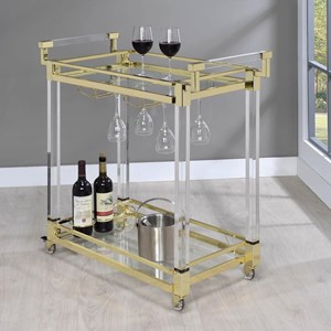 Glam Serving Cart with Gold Colored Accents