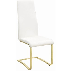Glam Upholstered Side Chair with Cantilever Base