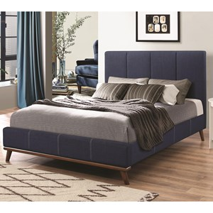 Full Bed with Channeled Blue Upholstery