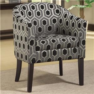Hexagon Patterned Accent Chair with Wood Legs