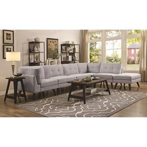 Mid-Century Modern 4 Seat Sectional with Button Tufted Cushions