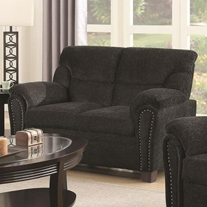 Casual Padded Loveseat with Nail Heads
