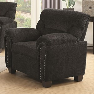 Casual Padded Chair with Nail Heads