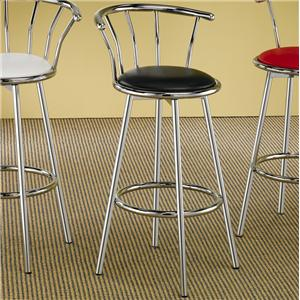 Chrome Plated Bar Stool with Upholstered Seat