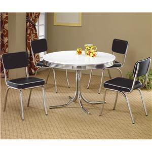 5 Piece Round Dining Table & Upholstered Chairs