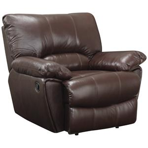 Brown Leather Power Recliner with Pillow Arms