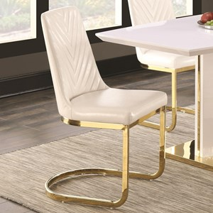 Contemporary Dining Side Chair with 24K Gold Detail