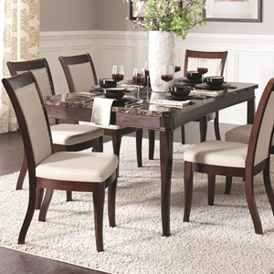 Rectangular Dining Table with Faux Stone Top