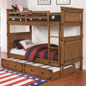 Casual Wooden Twin over Twin Bunk Bed