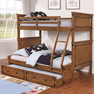 Casual Wooden Twin over Full Bunk Bed with Trundle Unit