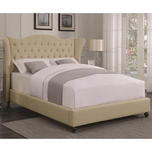 Transitional Upholstered King Bed with Button Tufted Headboard