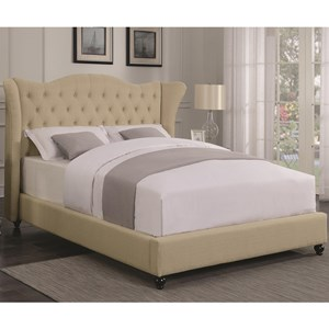 Transitional Upholstered Queen Bed with Button Tufted Headboard