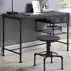 Industrial Style Writing Desk with Metal Frame