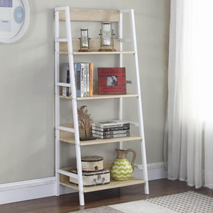 White/Weathered Natural Ladder Bookcase