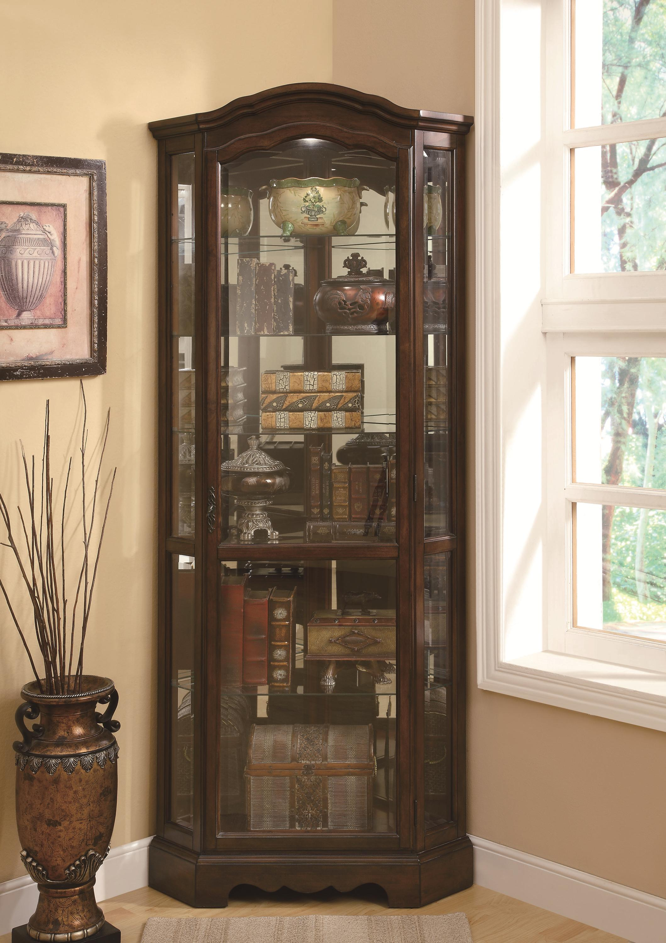 Curio Cabinets Corner Curio Cabinet by Coaster at Northeast Factory Direct