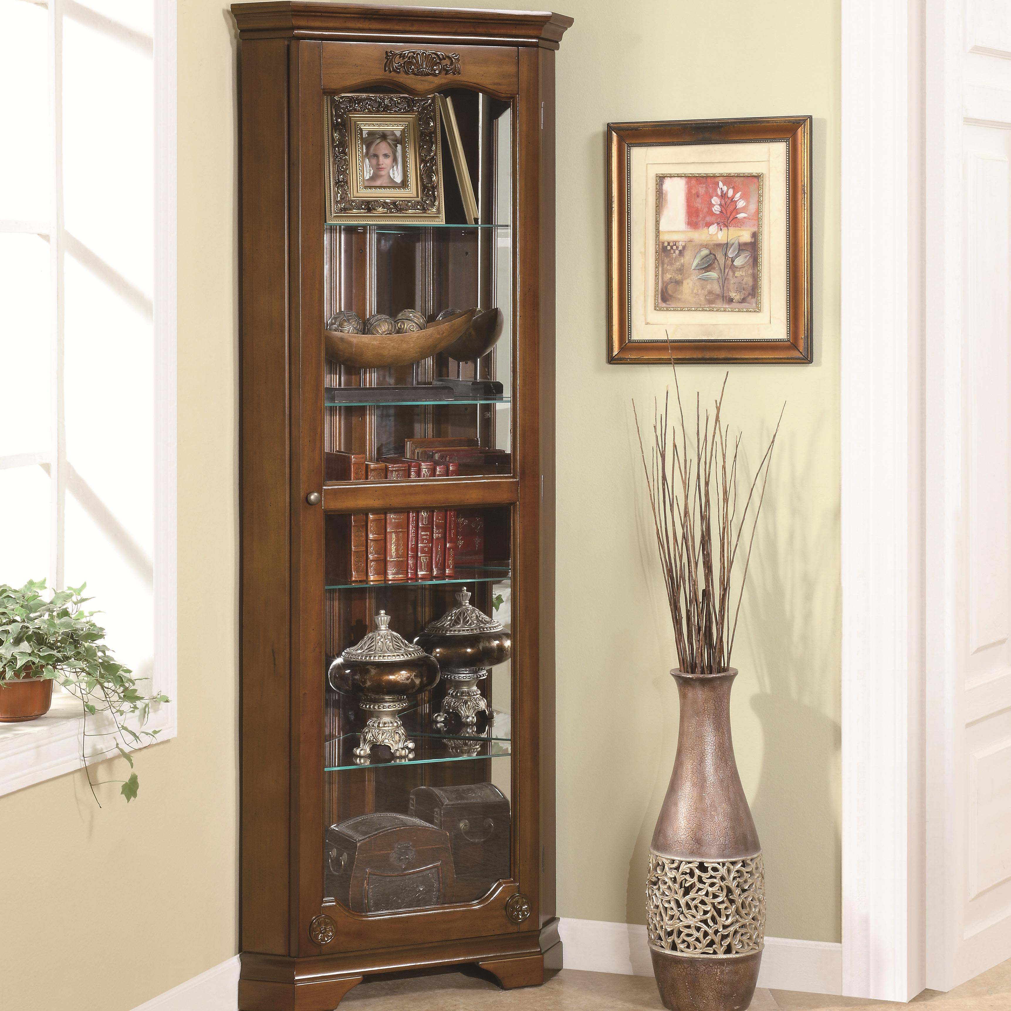 Curio Cabinets Corner Curio by Coaster at Beds N Stuff