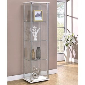Contemporary White/Glass Curio Cabinet