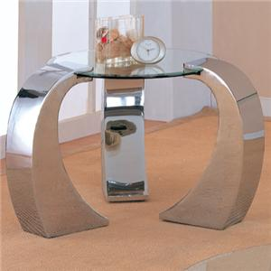 Contemporary Metal End Table with Round Glass Top