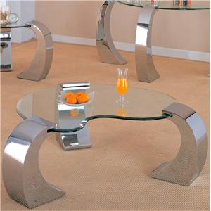 Contemporary Cocktail Table with Metal Base and Kidney Glass Top