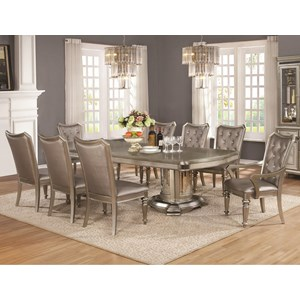 9 Piece Table and Chair Set with Leaf