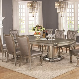Double Pedestal Dining Table with Leaf