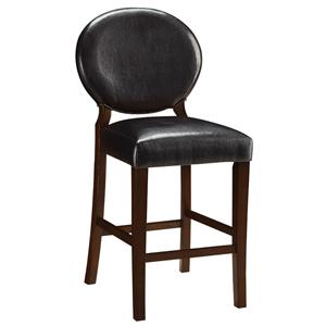Dark Brown Vinyl Counter Height Chair with Oval Backrest