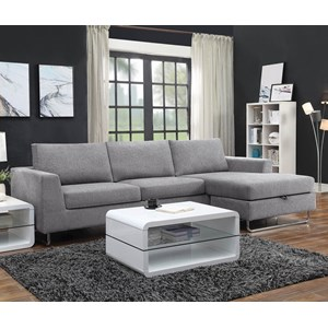 Contemporary Sectional with Wide Chaise