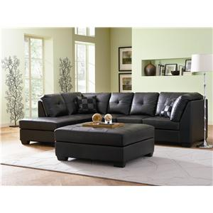 Leather Sectional Sofa with Left-Side Chaise
