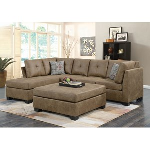 Light Rustic Brown Microfiber Sectional with Reversible Chaise