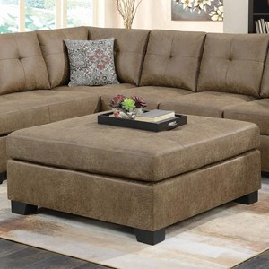 Cocktail Ottoman in Light Rustic Brown Microfiber