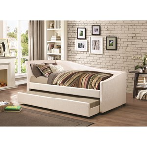 Twin Daybed with Upholstered Ivory Fabric and Trundle