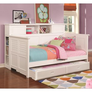 White Wooden Daybed with Bookcase