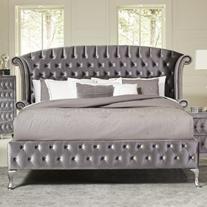 Upholstered Queen Bed with Nailhead Trim and Button Tufting