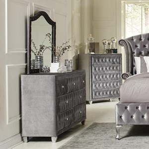 Upholstered Dresser Mirror with Arched Frame and Nailhead Trim