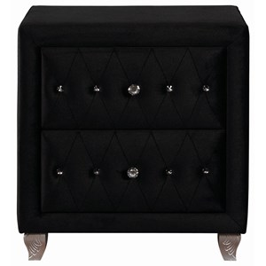 Upholstered Nightstand with Faceted Buttons