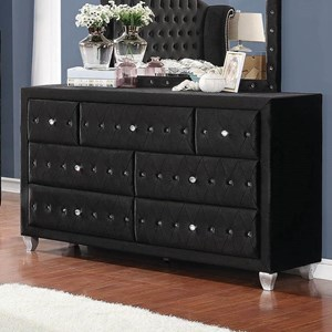 Upholstered Dresser with Six Drawers and Faceted Buttons