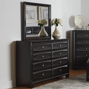 Transitional 8 Drawer Dresser and Mirror