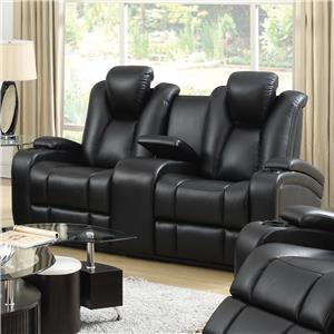 Reclining Power Loveseat with Adjustable Headrests & Storage in Armrests