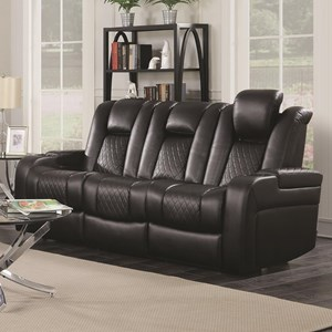 Casual Power Reclining Sofa with Cup Holders, Storage Console and USB Port