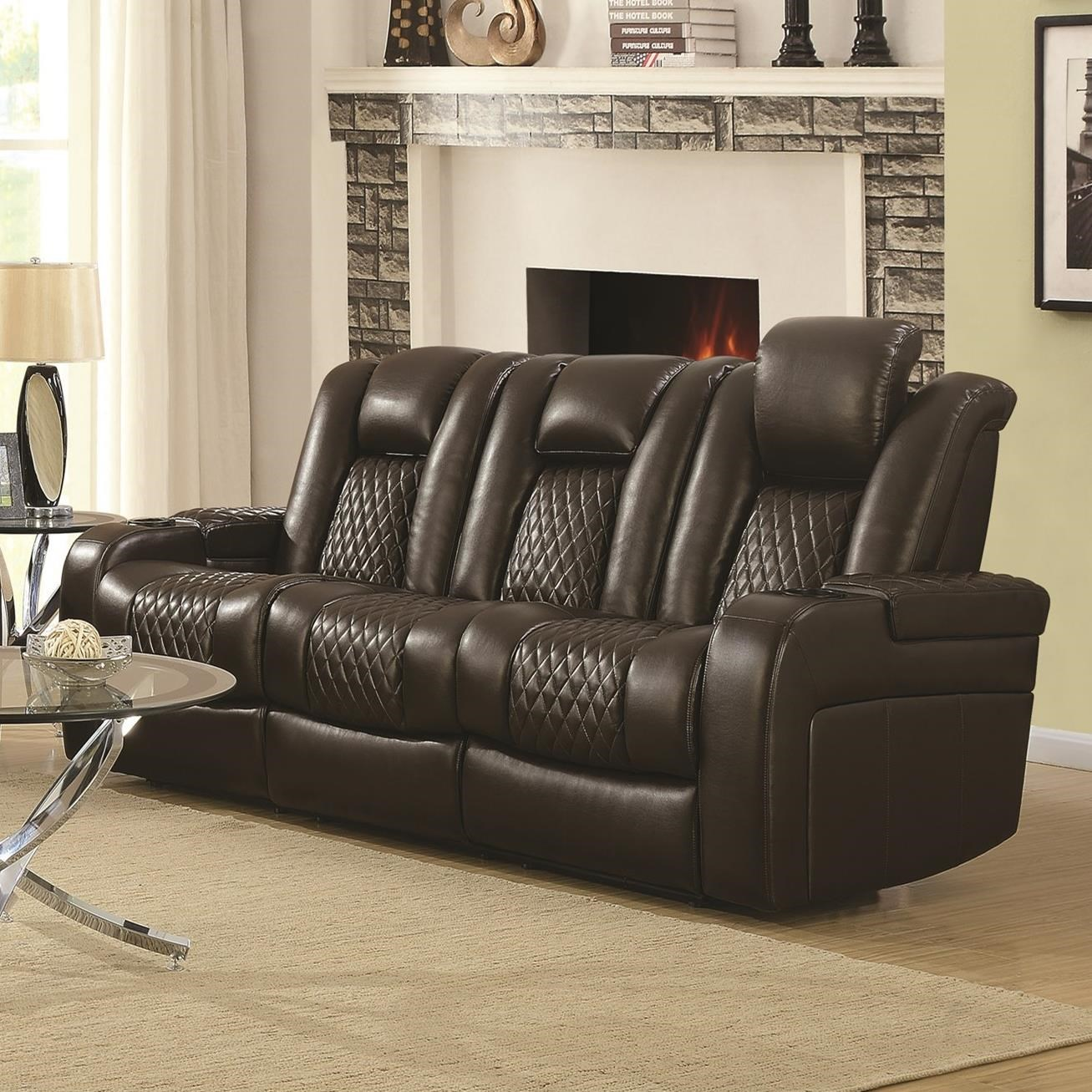 Delangelo Power Reclining Sofa by Coaster at Lapeer Furniture & Mattress Center