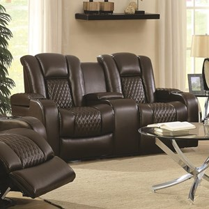 Casual Power Reclining Love Seat with Cup Holders, Storage Console and USB Port