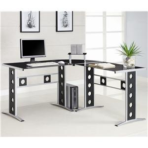Modern L Shape Desk with Silver Frame & Black Glass