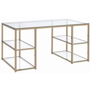 Contemporary Glass Top Writing Desk